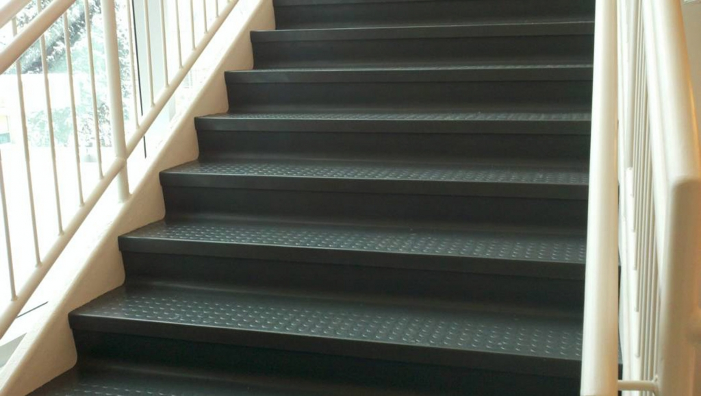 Rubber Stair Treads & Cove Base at Long Island Paneling, Ceilings & Floors